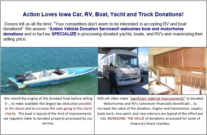 Vehicle, boat and RV donations benefit Iowa needy.