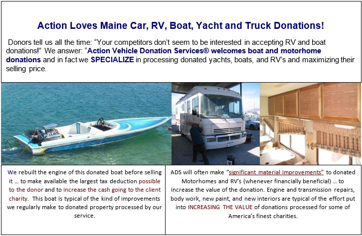 Vehicle, boat, and RV donations in Maine.
